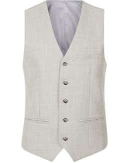 Light Grey Skinny Fit Vest Containing Wool