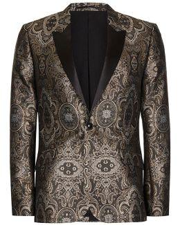 Gold Jacquard Contrast Lapel Skinny Fit Tuxedo Jacket