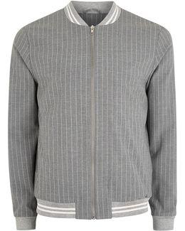 Grey Pinstripe Smart Bomber Jacket
