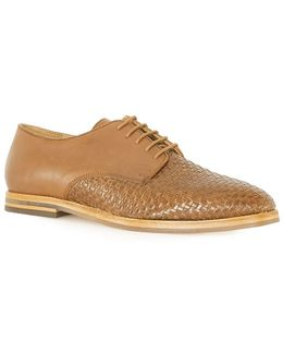 Tan Leather Woven Derby Shoes