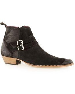 Black Suede Buckle Boots