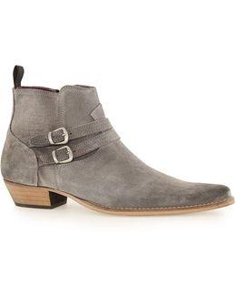 Grey Suede Buckle Boots