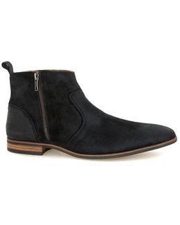 Black Waxed Suede Zip Boots