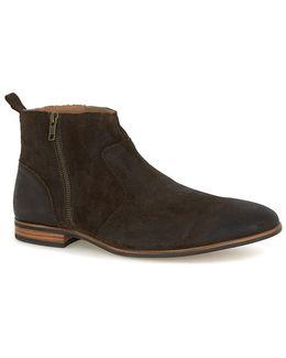 Brown Waxed Suede Zip Boots