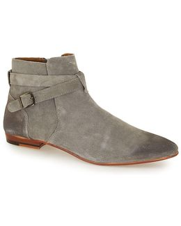 Grey Suede Buckle Ankle Boots