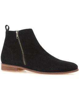Black Suede Zip Boots