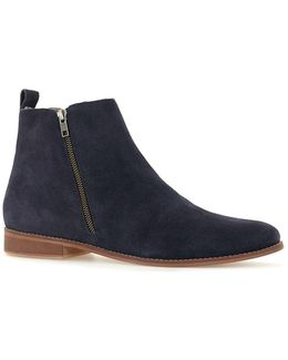 Navy Suede Zip Boots