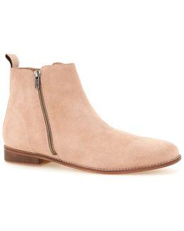Pink Suede Zip Boots