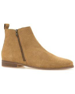 Tan Suede Zip Boots