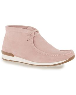 Pink Suede Lace Up Chukka Boots