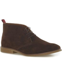 Brown Faux Suede Chukka Boots