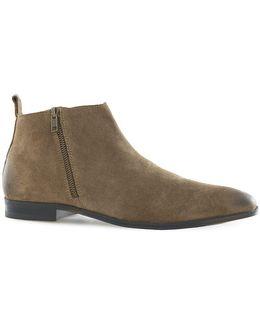 Brushed Suede Zip Chelsea Boots