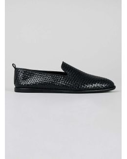 Hudson Black Leather Woven Shoes