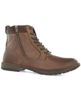 Brown Leather Zip Chukka Boots