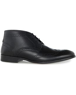 Black Leather Throne Brogue Boots