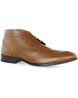 Tan Leather Throne Brogue Boots
