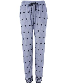 Embroidered Gingham Pyjama Trousers