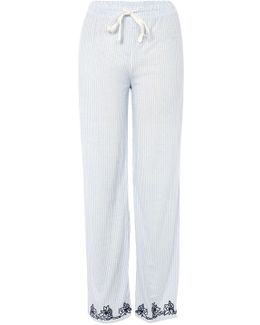 Oxford Stripe Embroidered Pyjama Trousers