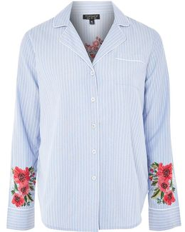 Floral Embroidered Striped Night Shirt