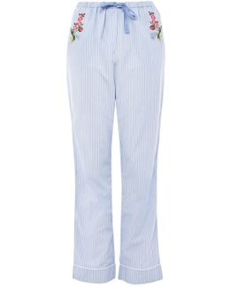 Striped Floral Embroidered Night Trousers