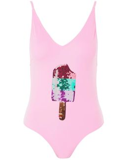 Ice Lolly Sequin Embellished Swimsuit