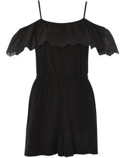 Cutwork Frill Jersey Playsuit