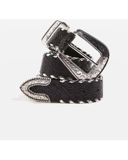 Patterned Leather Whipstitch Belt