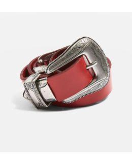 Leather Double Buckle Belt