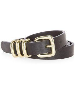 Pu Skinny Triple Keeper Belt