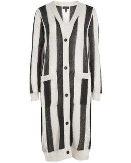 Vertical Stripe Longline Cardigan