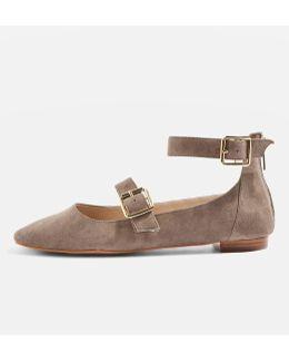 Katrina Suede Buckle Ballerina Shoes