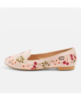 Sugar Embroidered Slip On Flat Shoes