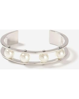 Pearl Detail Cage Bangle