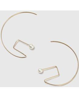 Geometric Shape Pearl Hoop Earrings