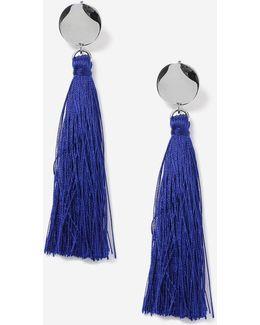 Blue Stud Tassel Drop Earrings