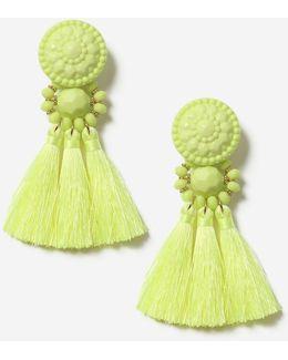 Lime Bead And Tassel Drop Earrings