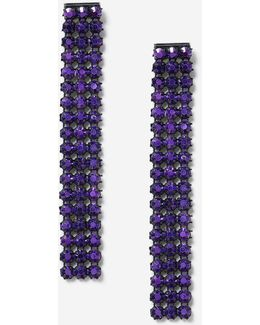 Purple Stone Drop Earrings
