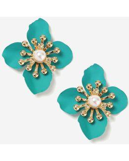 Turquoise Matte Flower Stud Earrings