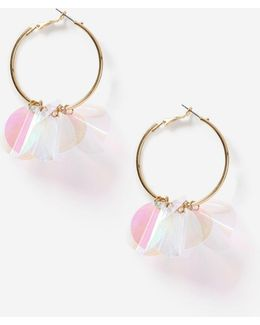White Sequin Hoop Earrings