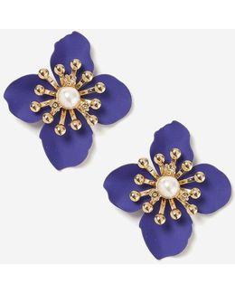 Blue Matte Flower Stud Earrings