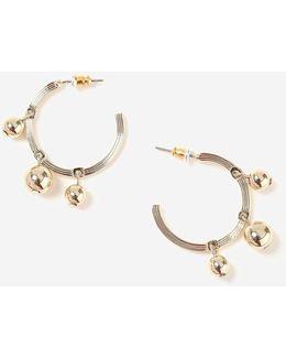 Gold 3 Ball Hoop Earrings