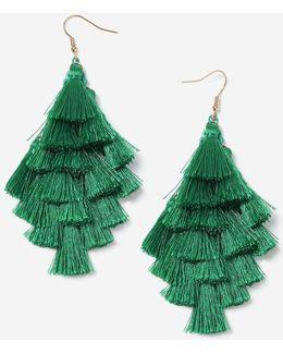 Green Multi-tassel Chandelier Earrings