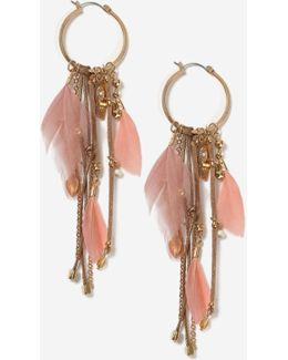 Feather And Chain Drop Earrings