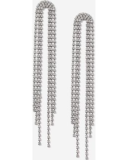 Curved Rhinestone Drop Earrings