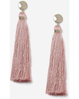 Pink Beaten Tassel Earrings