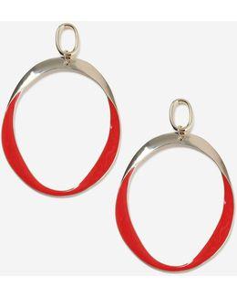 Red Drop Hoop Earrings