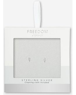 Sterling Silver Triangle Crystal Stud Earrings