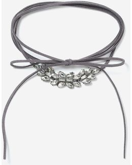 Grey Tie Up Choker Necklace