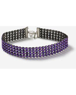 Purple Rhinestone Choker Necklace