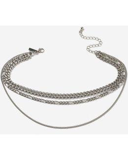 Three Row Chain Choker Necklace